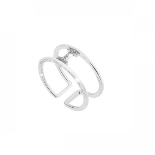 "JOLIE ""I"" RING IN SILVER AND DIAMOND DUST"