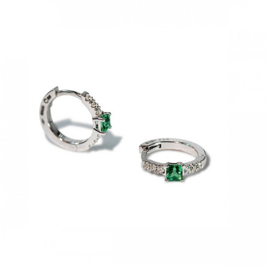EMERALD AND DIAMOND MINI HOOP EARRINGS
