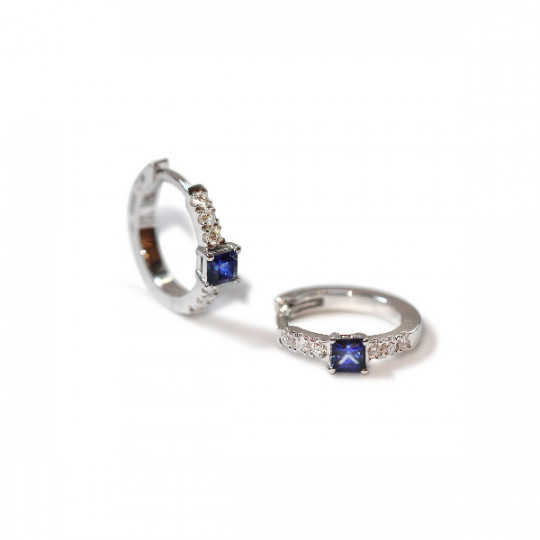 DIAMOND AND SAPPHIRE MINI HOOP EARRINGS