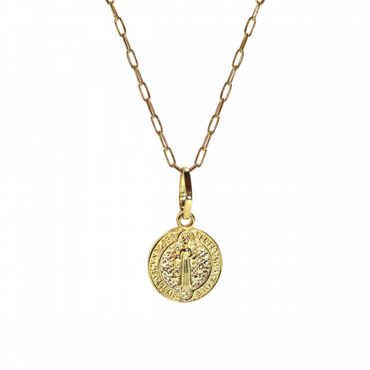 "REVERSIBLE PENDANT ""CROSS & SAINT"""