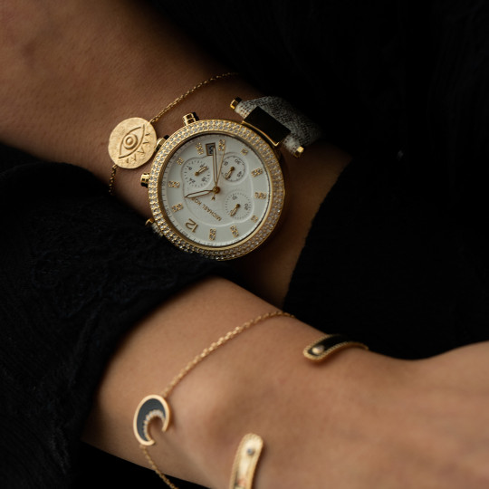 GOLD-TONE OVERSIZE PARKER MICHAEL KORS WATCH WITH LOGO AND INLAYS