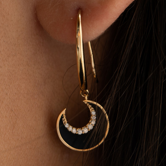 HALF MOON EARRINGS WITH ZIRCONIA