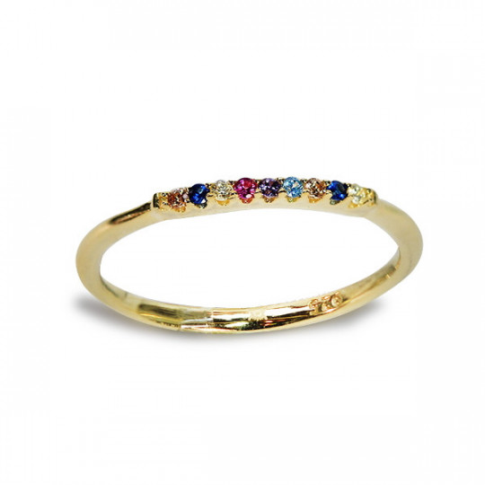 RING WITH MULTICOLOURED STONES