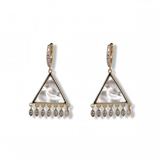 TRIANGLE EARRINGS IN GOLD-PLATED SILVER AND MOTHER PEARL