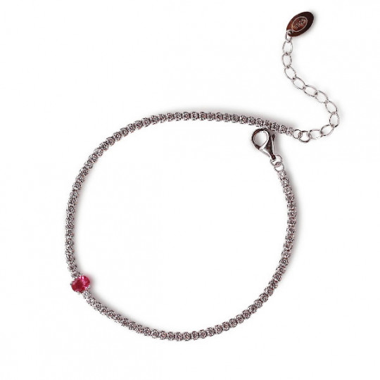 RIVIERE BRACELET WITH ZIRCONS AND CENTRAL GARNET