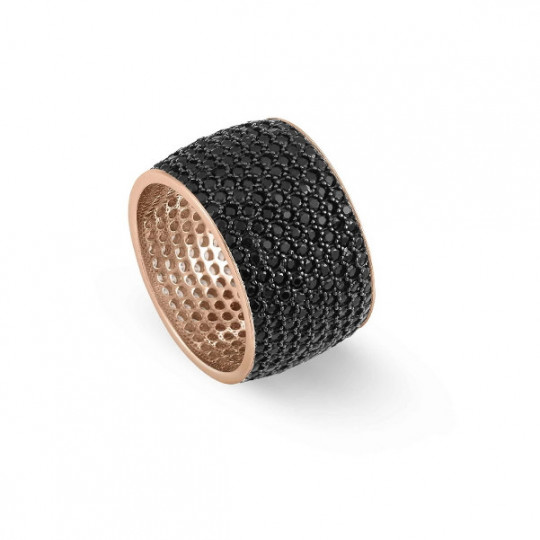 EMOZIONI RING WITH CUBIC BLACK ZIRCONIA