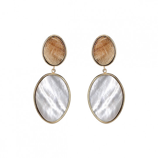 LONG IRREGULAR DOUBLE OVAL EARRINGS