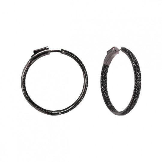 SILVER HOOP EARRINGS WITH BLACK ZIRCONIA