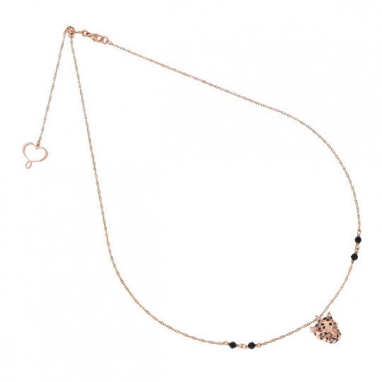 FINE CHAIN NECKLACE WITH LEOPARD IN ROSE GOLD AND SPINEL