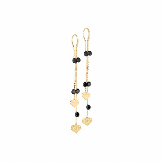 DOUBLE CHAIN EARRINGS WITH STONES AND HEART