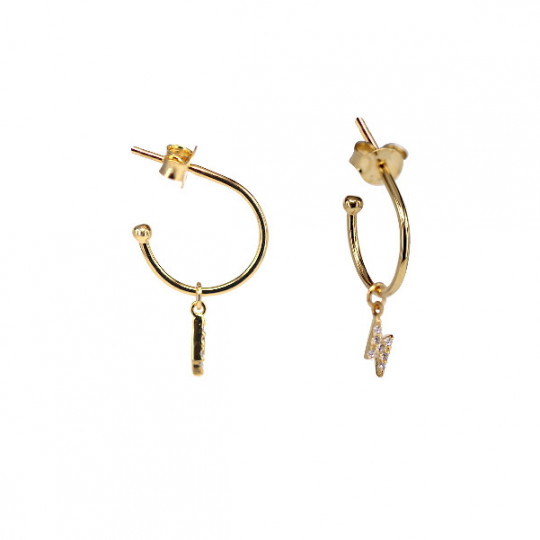 HOOP EARRING WITH LIGHTNING BOLT