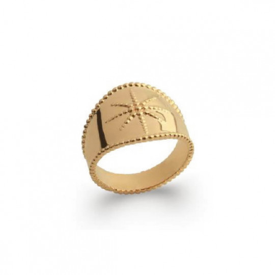 GOLD PLATED SILVER RING WITH STAR