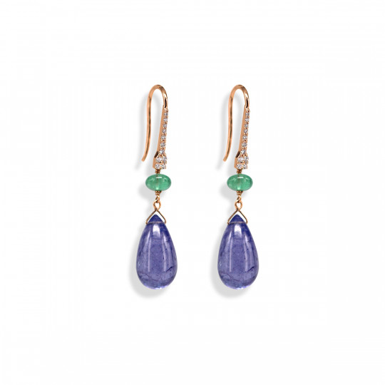 BICOLOUR LONG TEARDROP EARRINGS