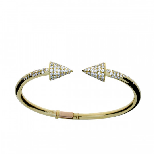 RIGID GOLD BRACELET WITH DIAMONDS
