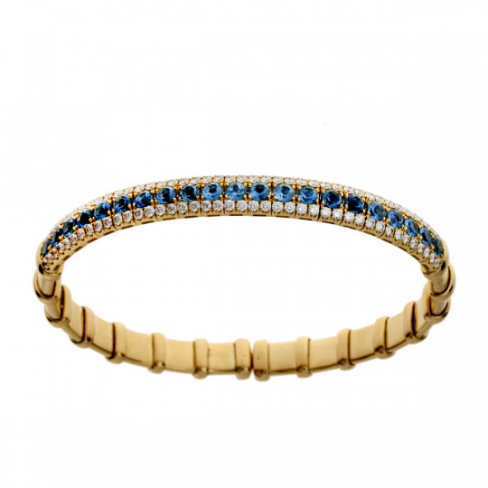 RIGID BRACELET WITH DIAMONDS AND TOPAZES