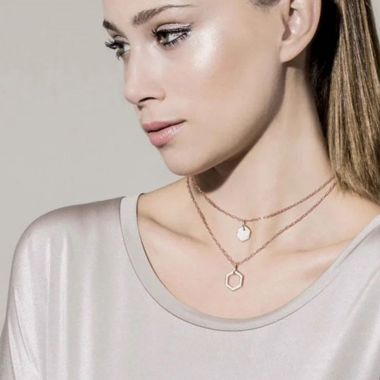 GEOMETRIC NECKLACE WITH DOUBLE CHAIN 147812/001