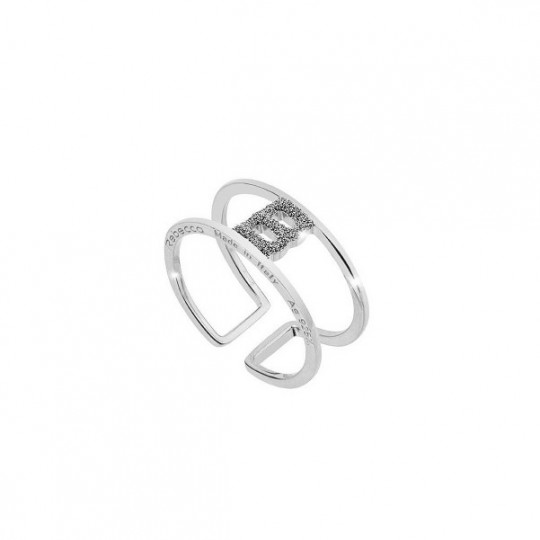 "RING JOLIE ""B"" IN SILVER AND DIAMOND DUST. SJOAAB62"