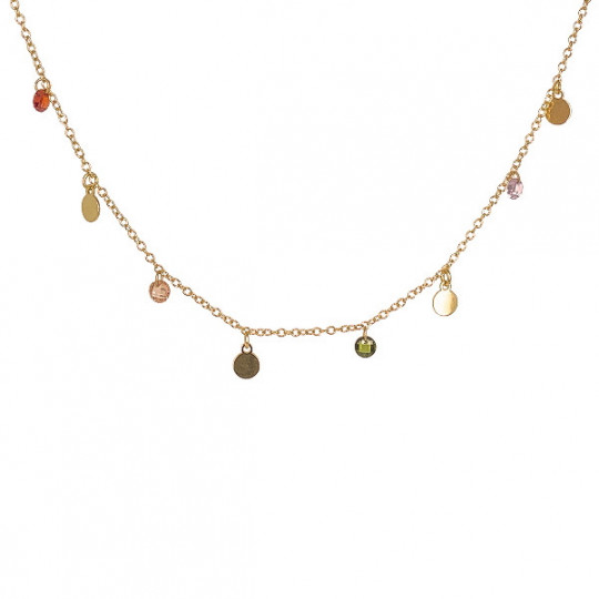 CHAIN NECKLACE WITH ROUND PLATES AND MULTICOLOURED CHATONS