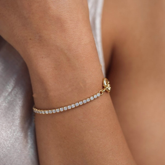 SILVER CHAIN AND RIVIER BRACELET