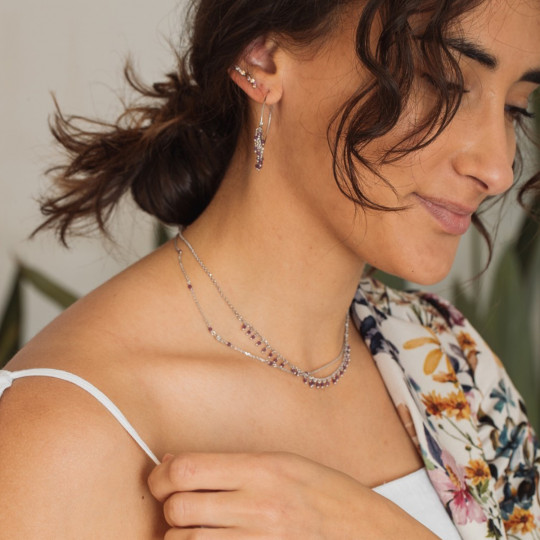 SILVER NECKLACE WITH ZIRCONS AND SEMIPRECIOUS STONES
