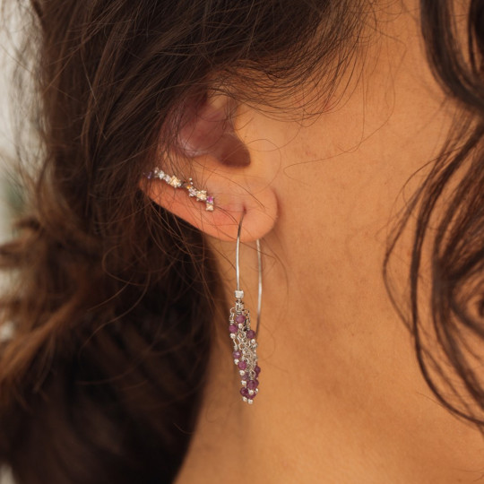 SILVER EARRINGS WITH SEMIPRECIOUS STONES