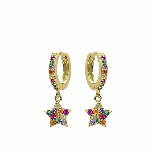 EARRING SILVER CREOLLA AND COLOUR STAR