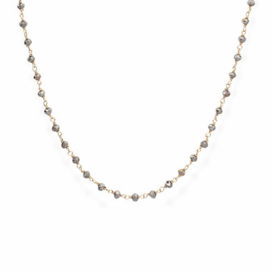 SILVER AND SMOKED CRYSTALS NECKLACE
