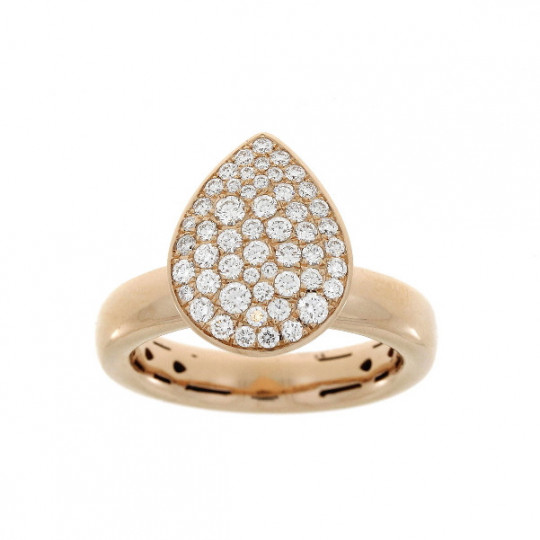 GOLD RING TEARDROP PAVE DIAMONDS.