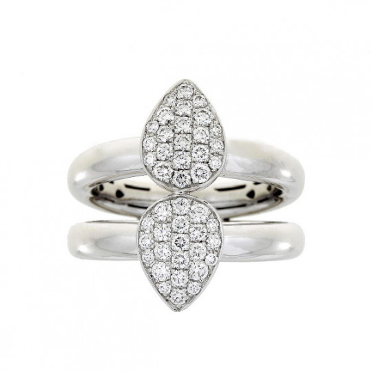 DOUBLE GOLD RING TEARDROP PAVE DIAMONDS.