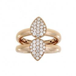 DOUBLE GOLD RING TEARDROP PAVE DIAMONDS.