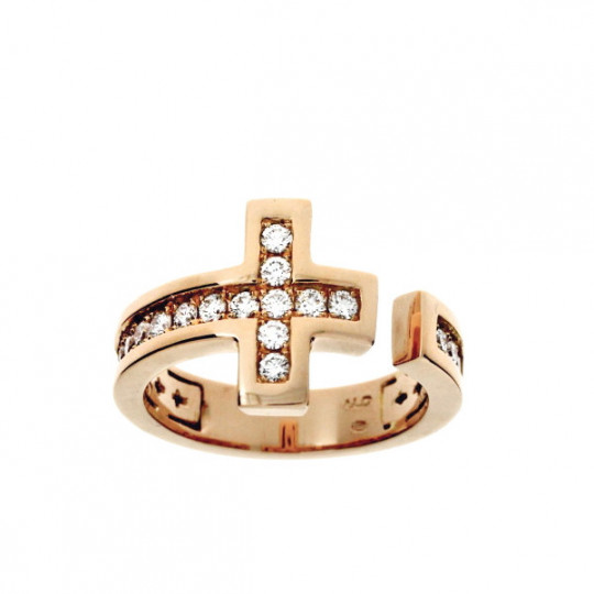 GOLD RING WITH DIAMONDS OPEN CROSS.