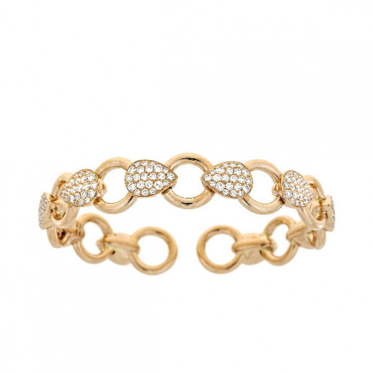 RIGID GOLD AND DIAMOND BRACELET.