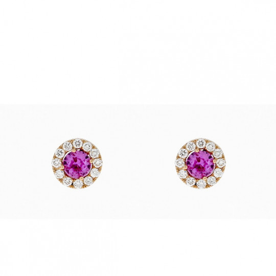 ROUND EARRINGS WITH DIAMONDS AND PINK SAPPHIRE.
