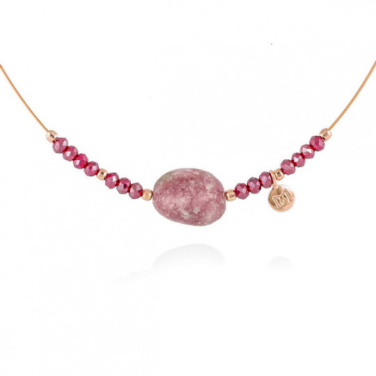 RED ZEN CHOKER IN PINK SILVER 90540G5