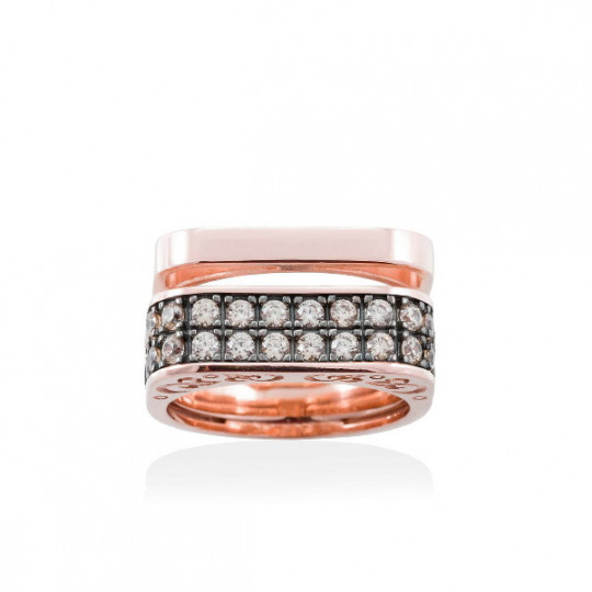 RING SEVRUGA COGNAC IN PINK SILVER 90453SS