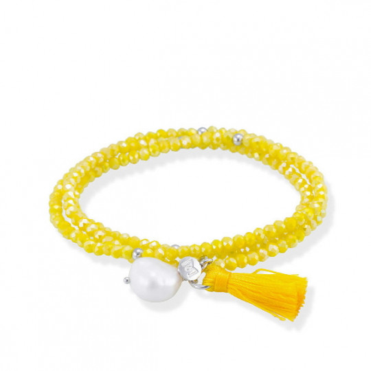 BRACELET ZEN YELLOW ON SILVER 90231UP