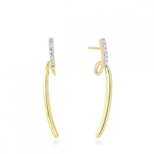 WHITE JUMP EARRINGS IN GOLD PLATED SILVER 90536PD