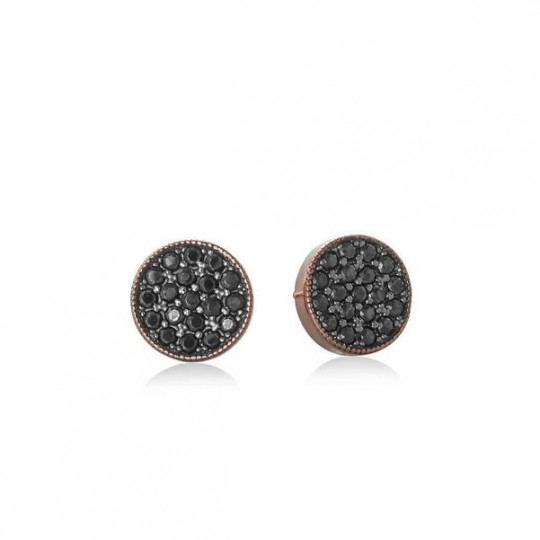BLACK JOUR EARRINGS ON ROSE SILVER 9275PSN