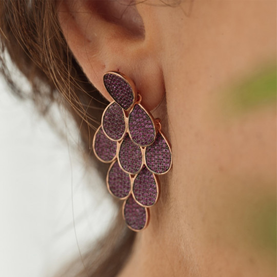 DREAM EARRINGS WITH FUCHSIA ZIRCONS ORMS079