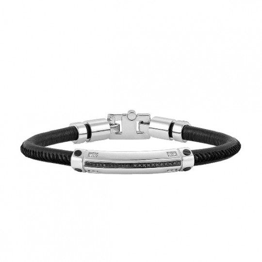 STAINLESS STEEL AND LEATHER BRACELET WITH RHINESTONES. 132901/015