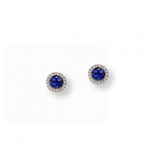 GOLD AND BLUE SAPPHIRE EARRINGS