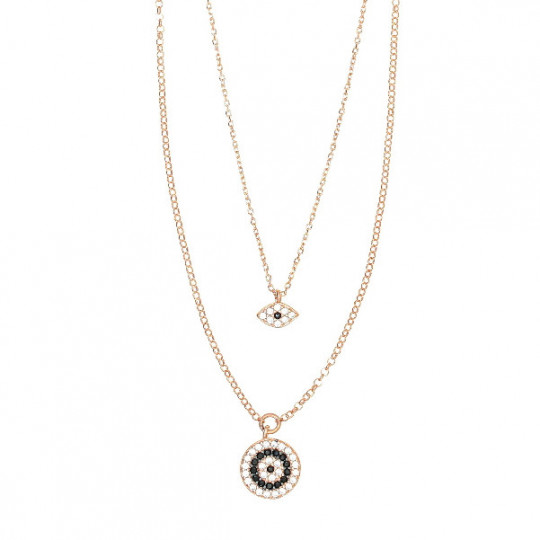 Long Double Necklace With Zircons And Spinel