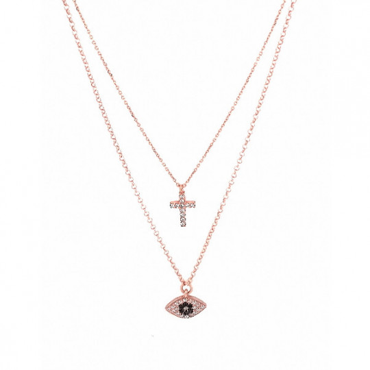 Double Necklace With Cross and Eye