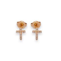 Mini Cross With Glitter Earrings