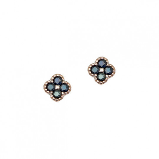 Flower With Black Spinel Earring