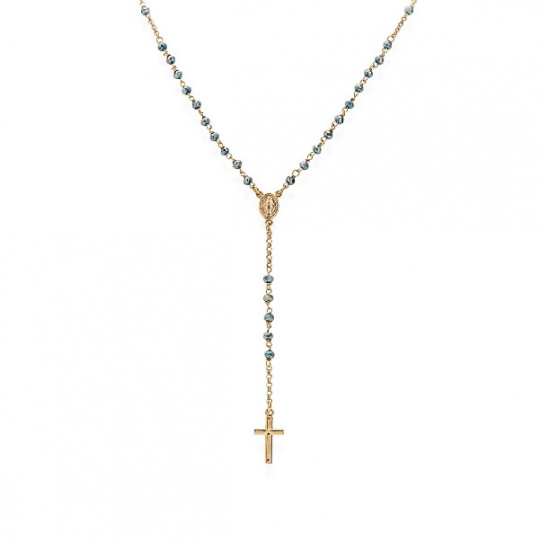 Classic Rosary Necklace Blue Crystals