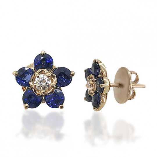 Flower Of Diamonds And Sapphires Earrings