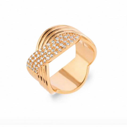 BRAIDED RING WITH ZIRCONIA