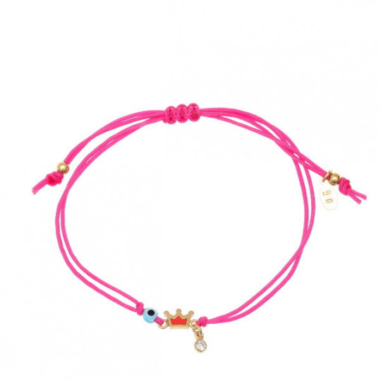 Cord and Crown Bracelet In Fuchsia