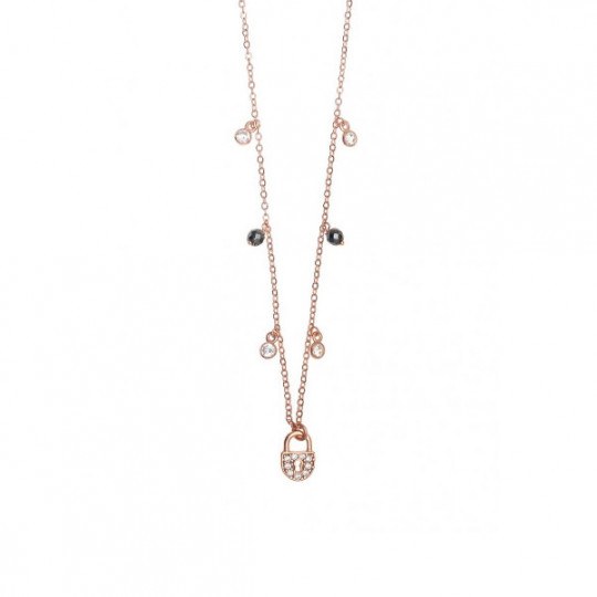 Necklace With Padlock And Zirconia